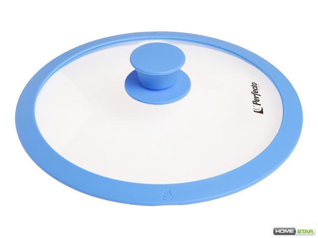 Крышка стеклянная, 260 мм, с силиконовым ободом, круглая, голубая, PERFECTO LINEA (25-026314)